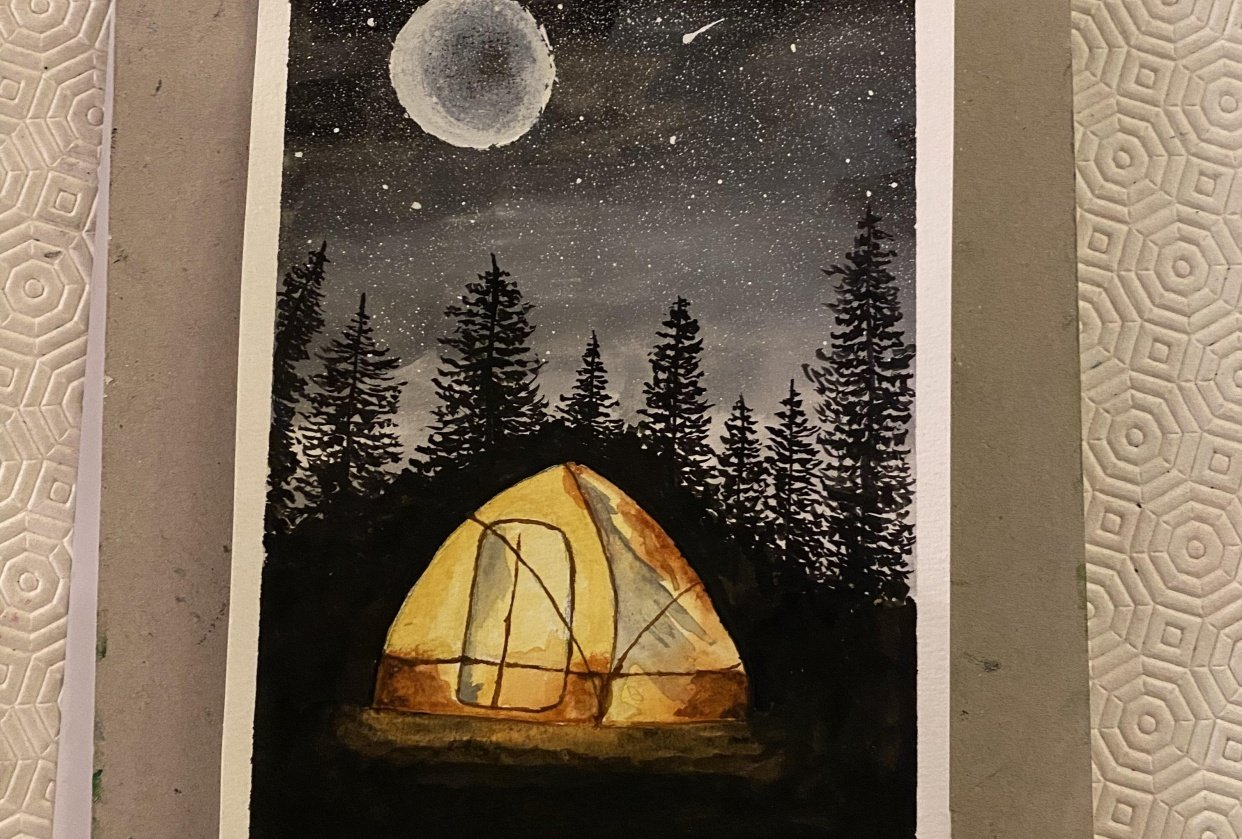 Tent and pine trees in the moonlight - student project
