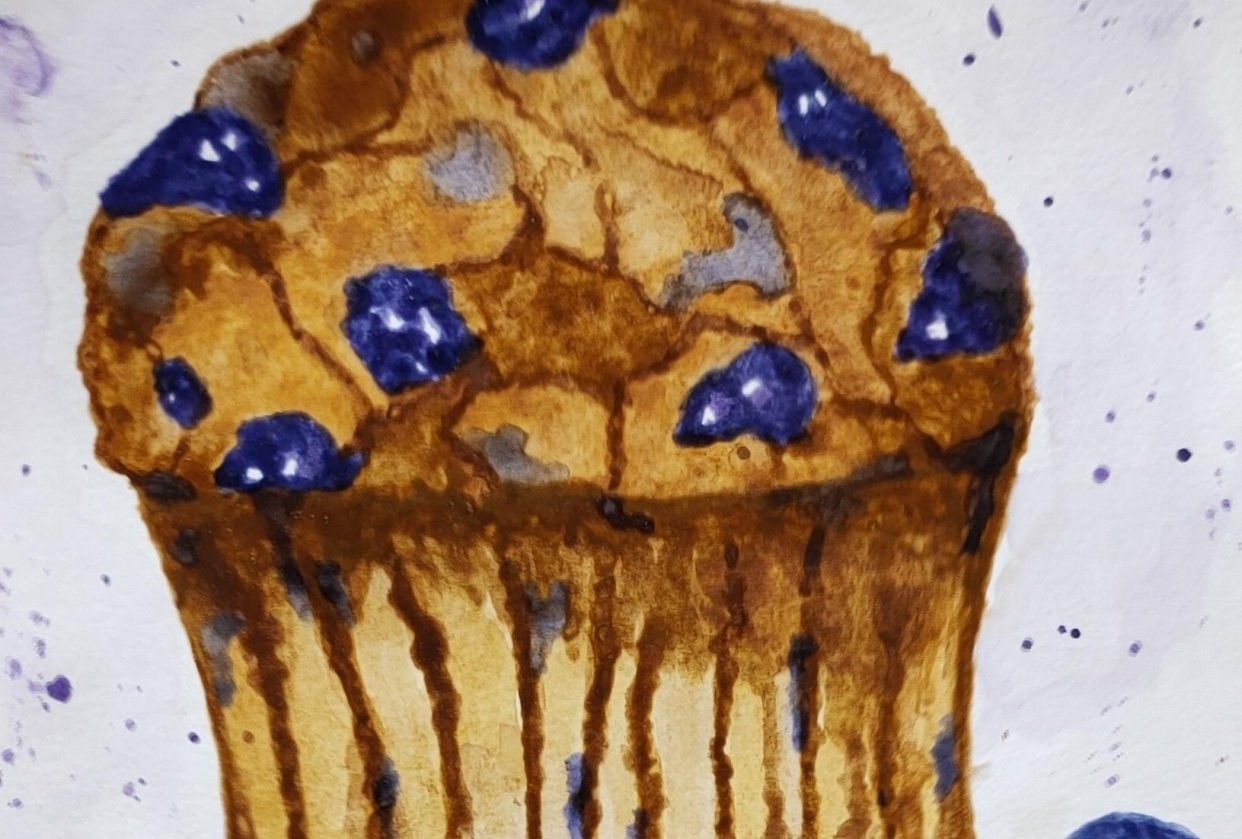 Watercolor Blueberry and Raspberry Muffin - student project