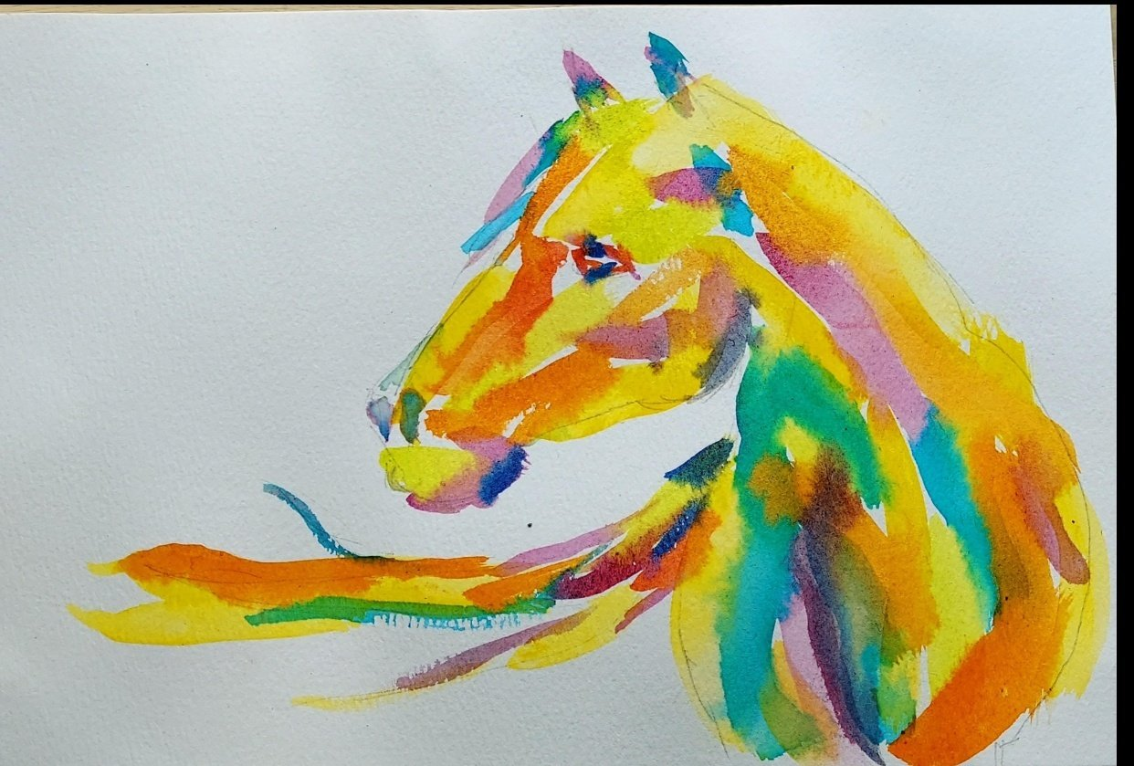 Watercolor Horse - student project