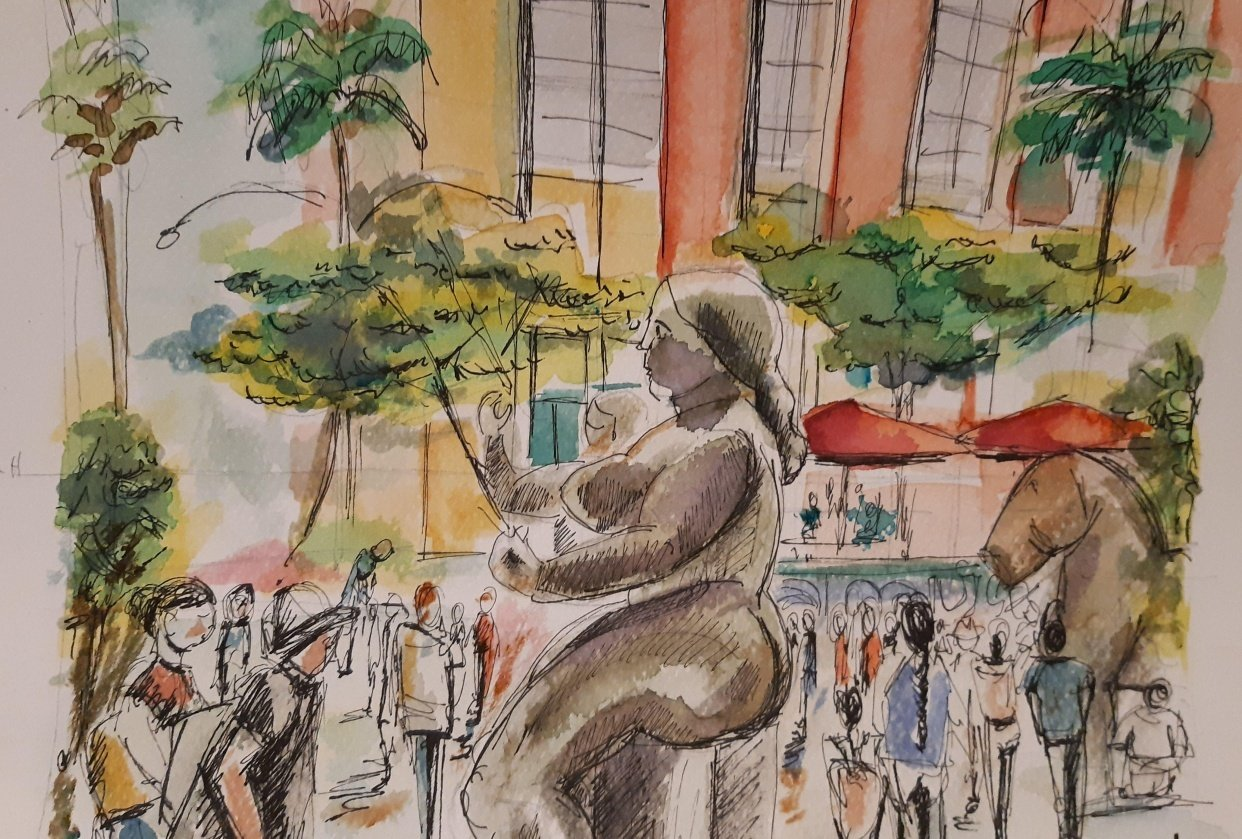 People and crowds in Plaza Botero - student project