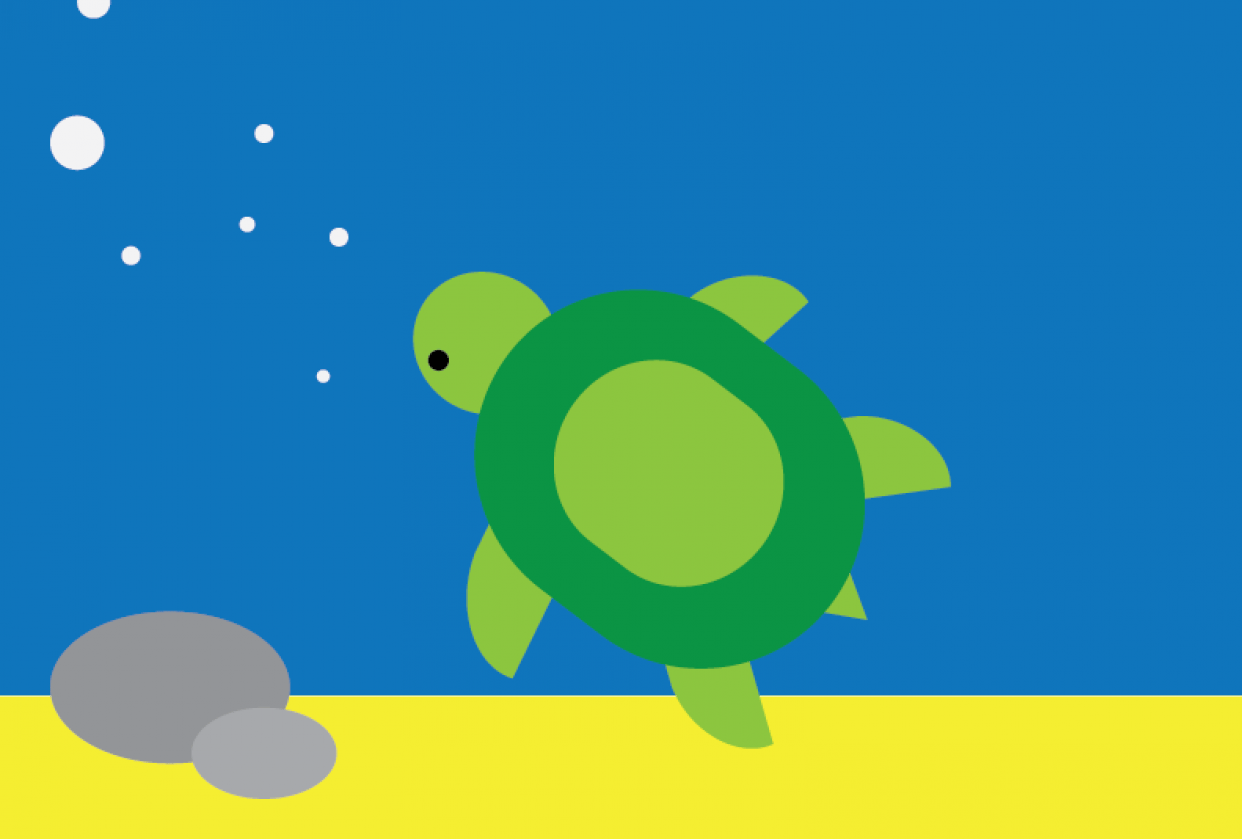Swimming turtle - student project