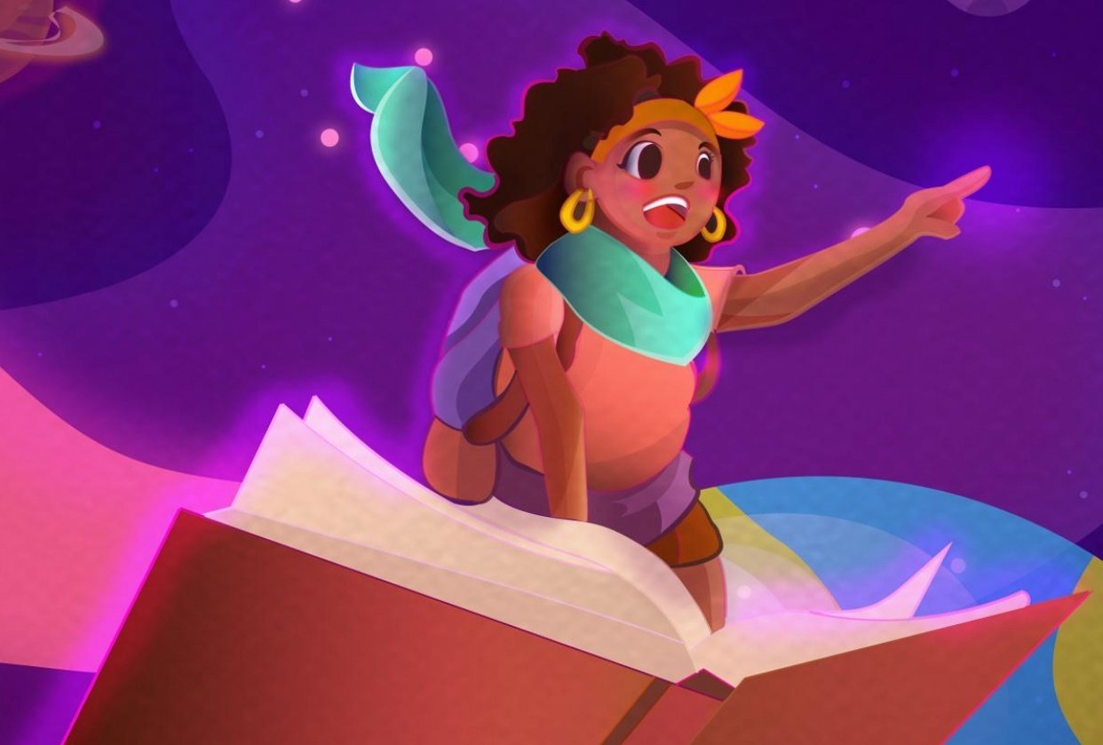 Caribbean Literature Space themed illustration - student project
