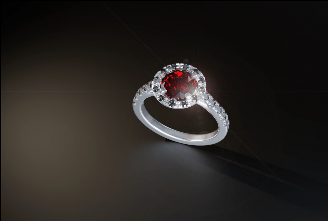 Ruby & Dimond Ring - student project