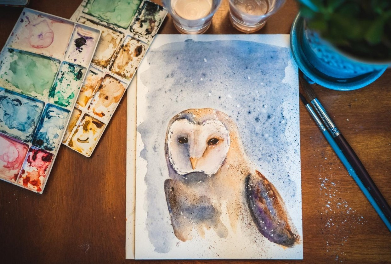 Barn Owl. A Free-Flow Watercolour Masterclass with Jane Davies - student project