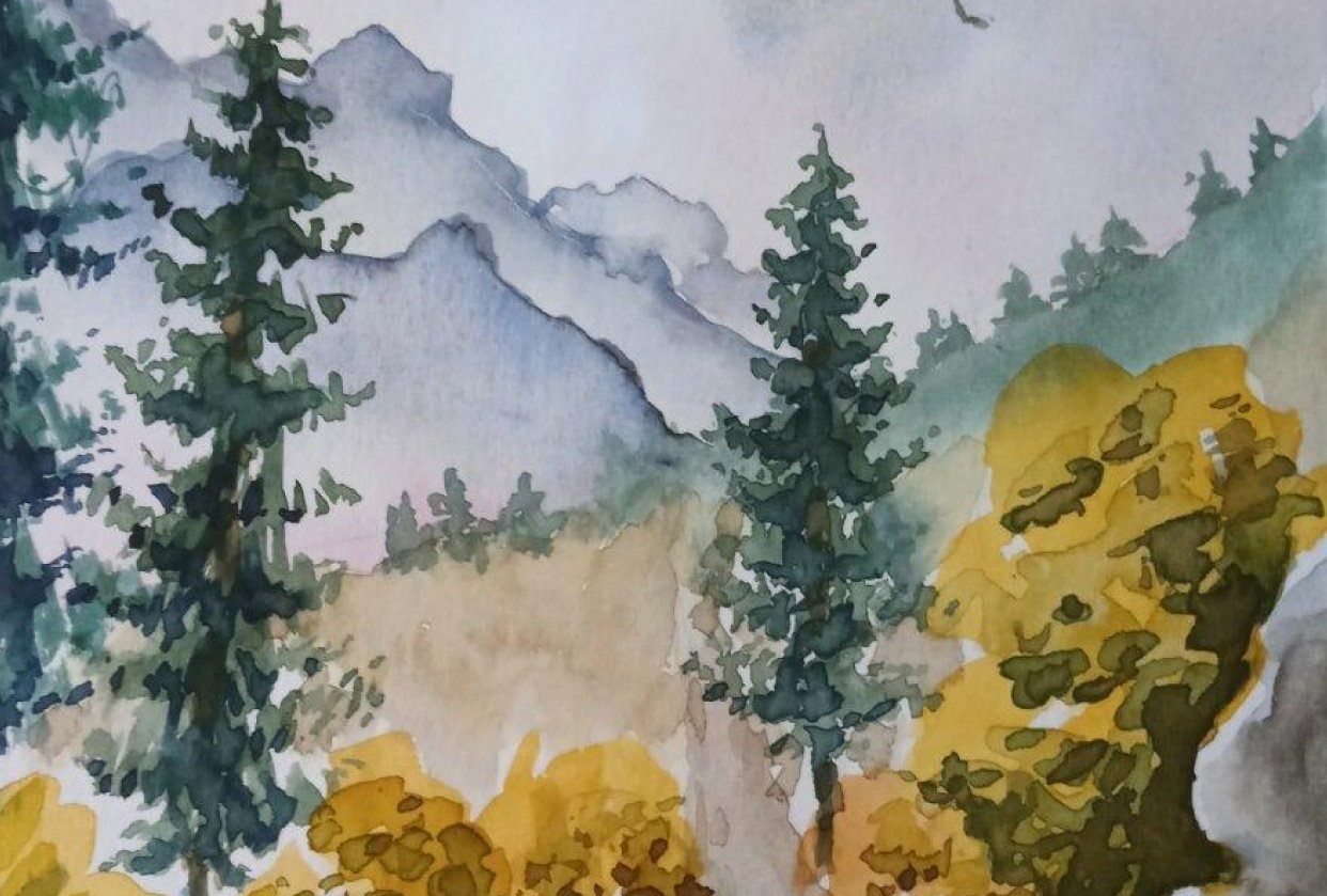 Step by step landscape painting - student project
