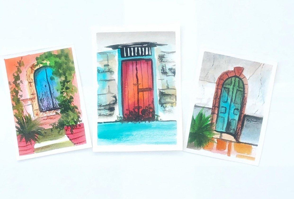 Watercolor doors - student project