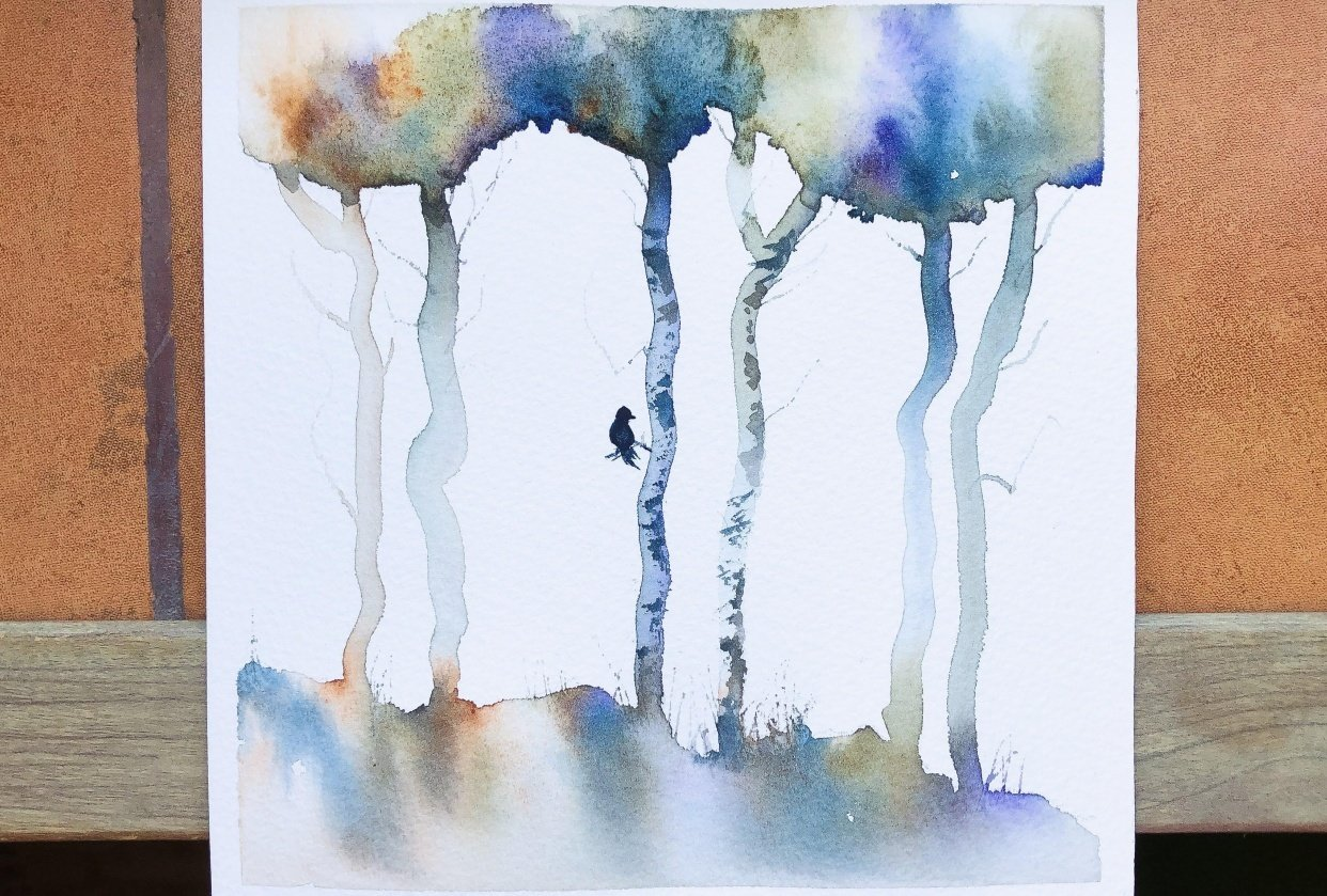 Loose watercolour trees - student project