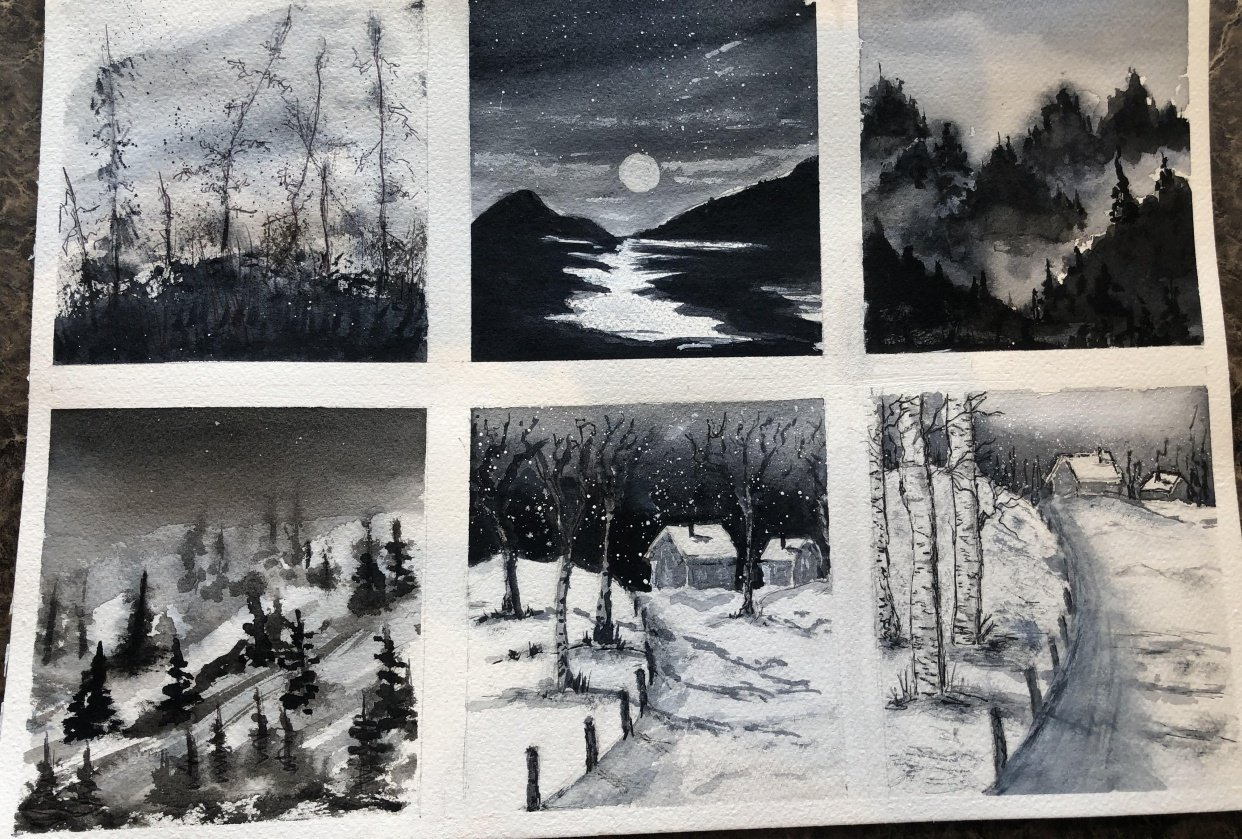 6 B & W Water Color - student project