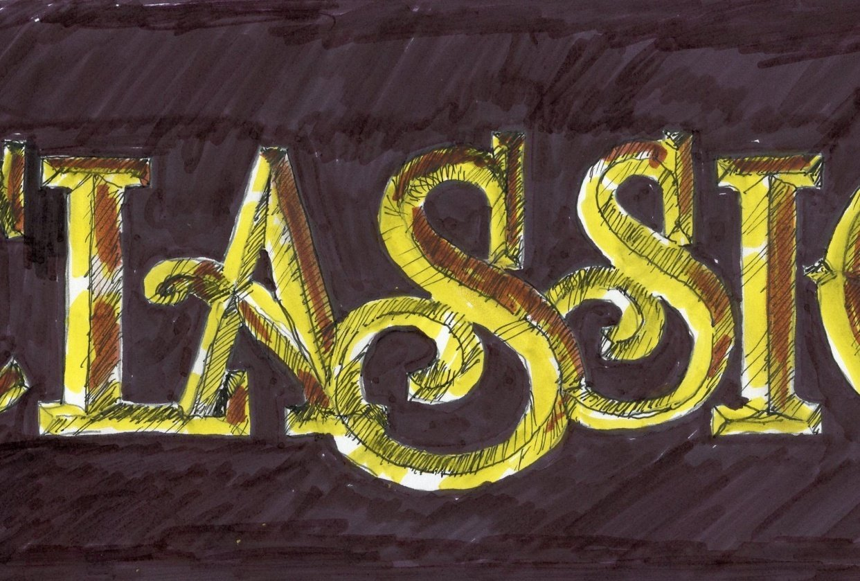 Carved Gold Leaf letters   Texture - student project