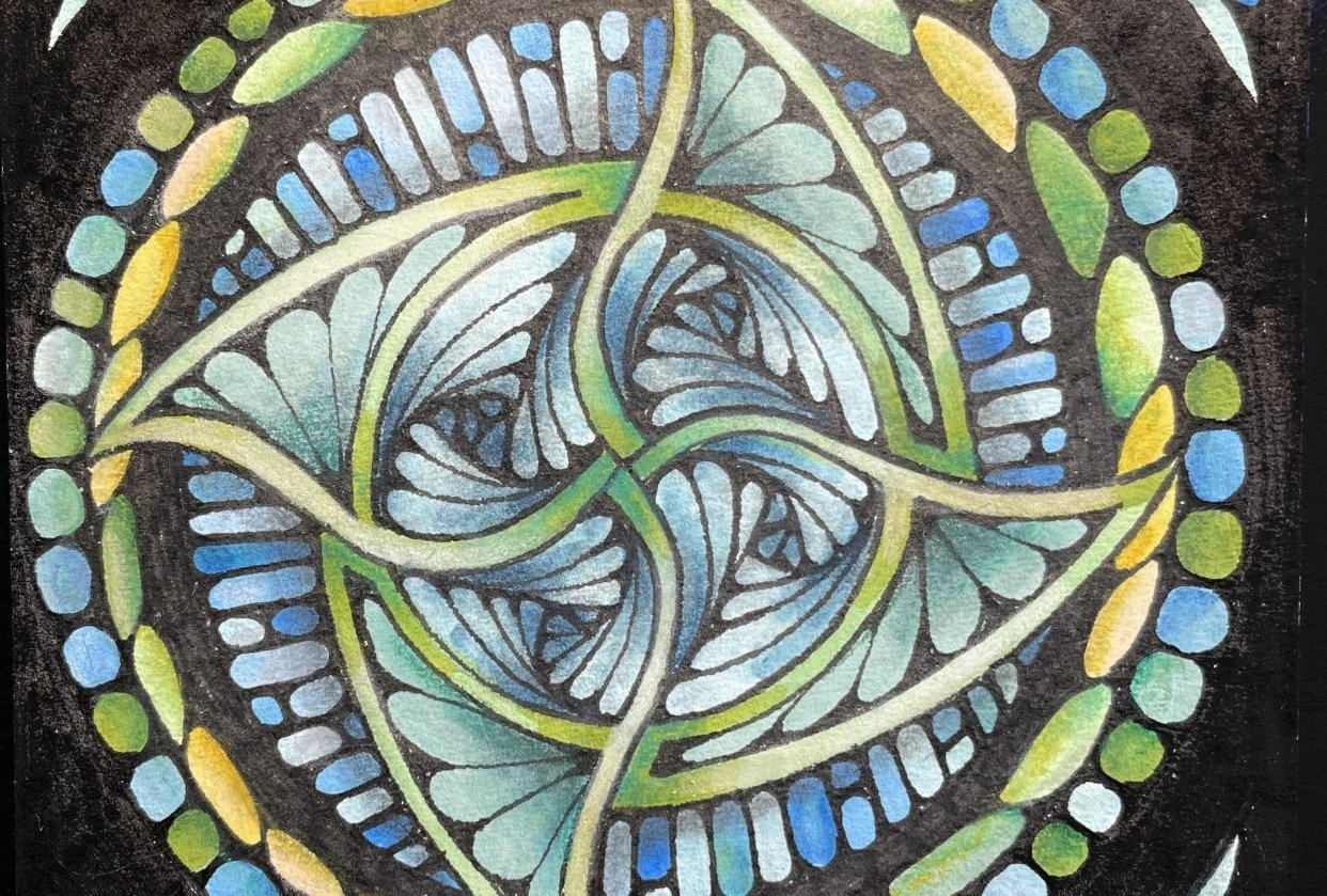 Stained Glass Tangles - student project