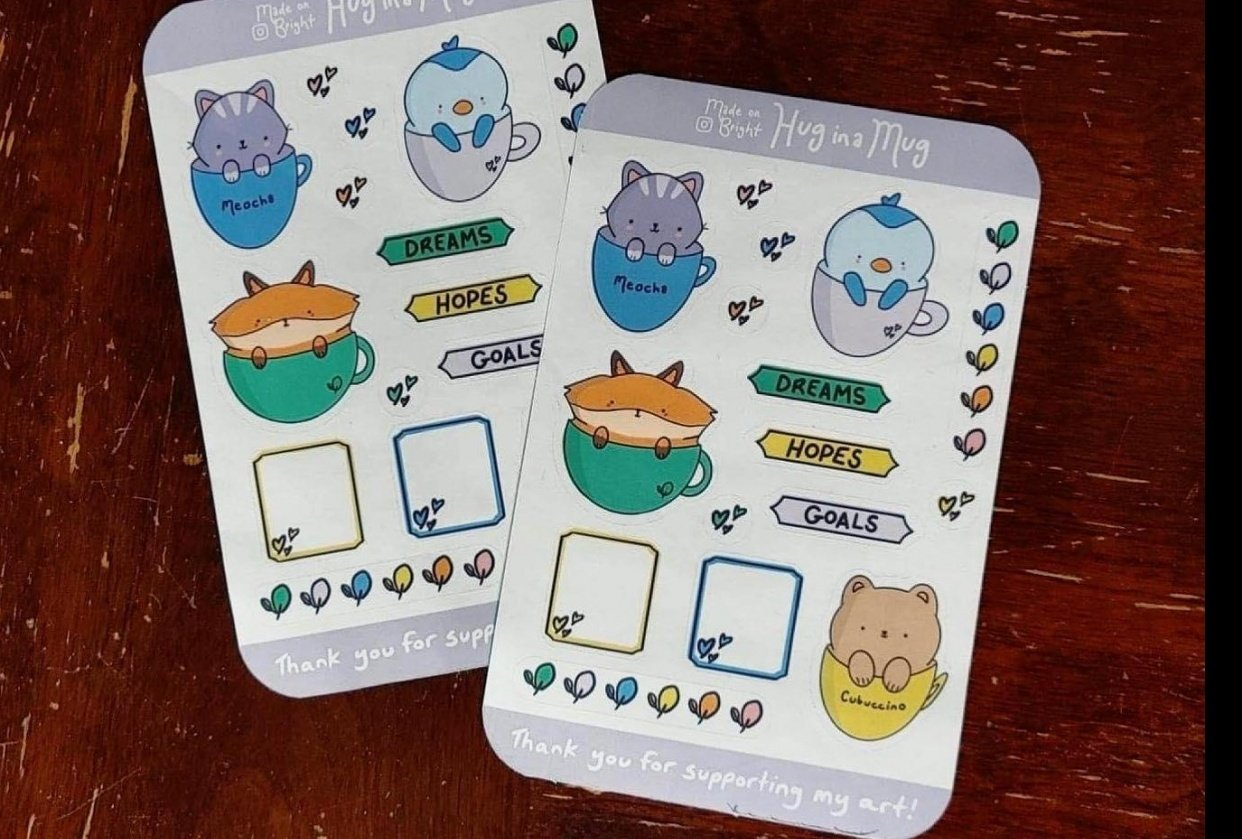Hug in a Mug STICKERS!!! - student project