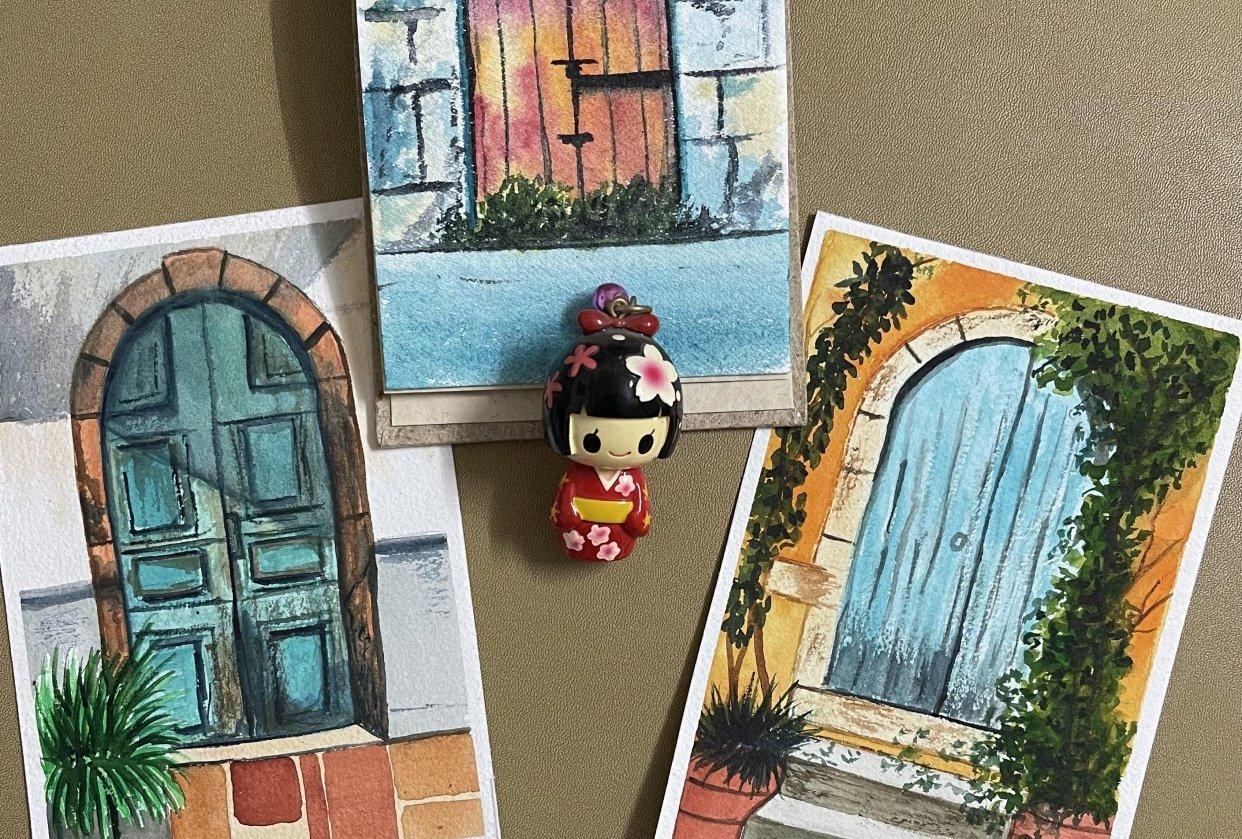 Watercolor postcards: Vinita - student project