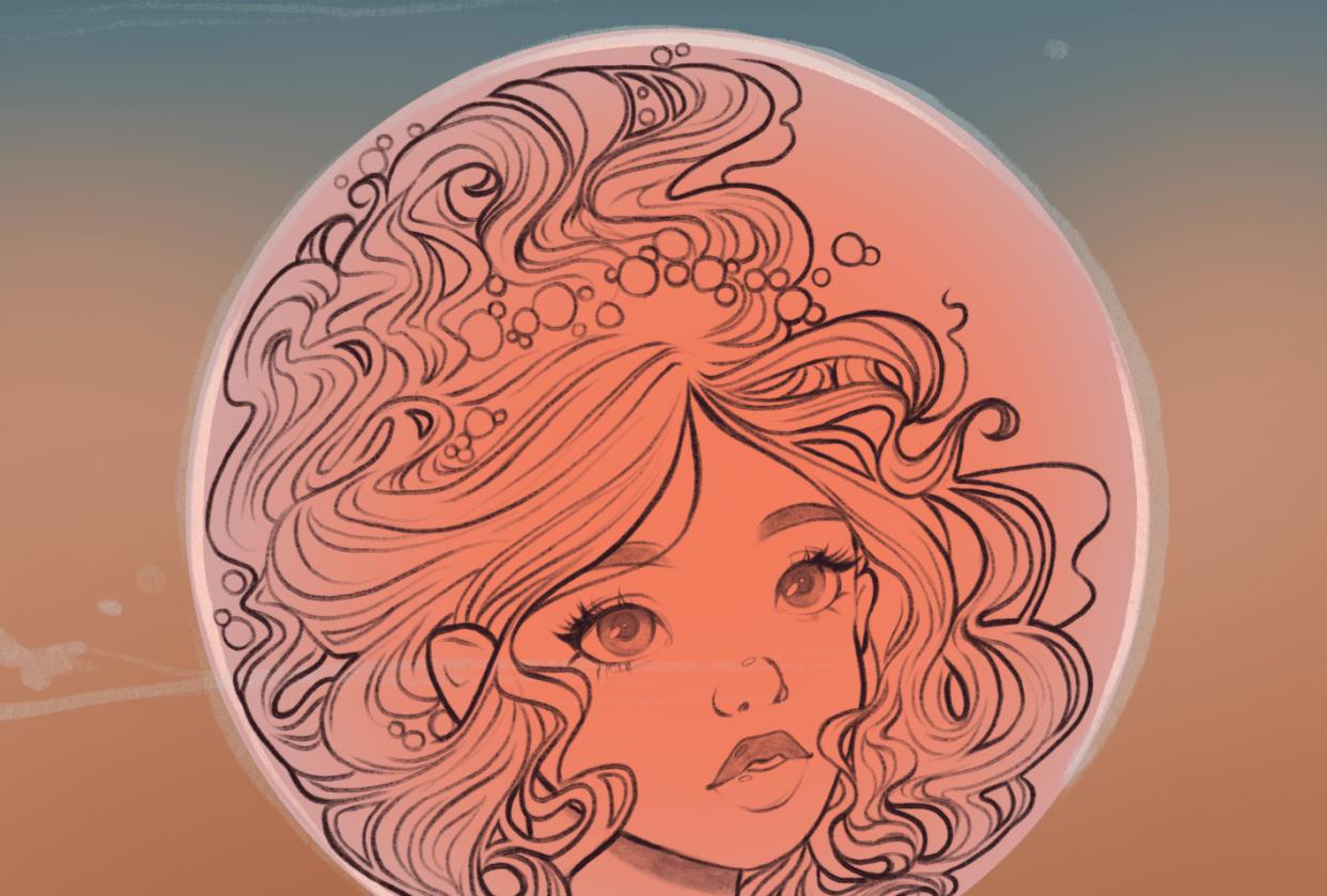 Bubble Mermaid: part 1 - line art - student project