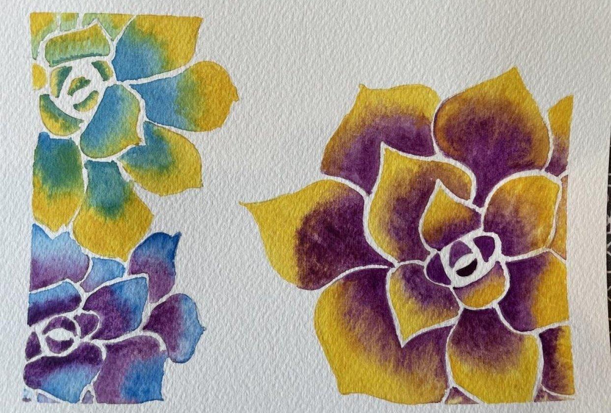 Watercolor Succulents - student project