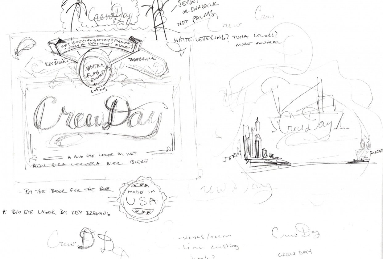 Big Eye Tuna Beers - Crew Day Lager Label (WIP) sketches - student project