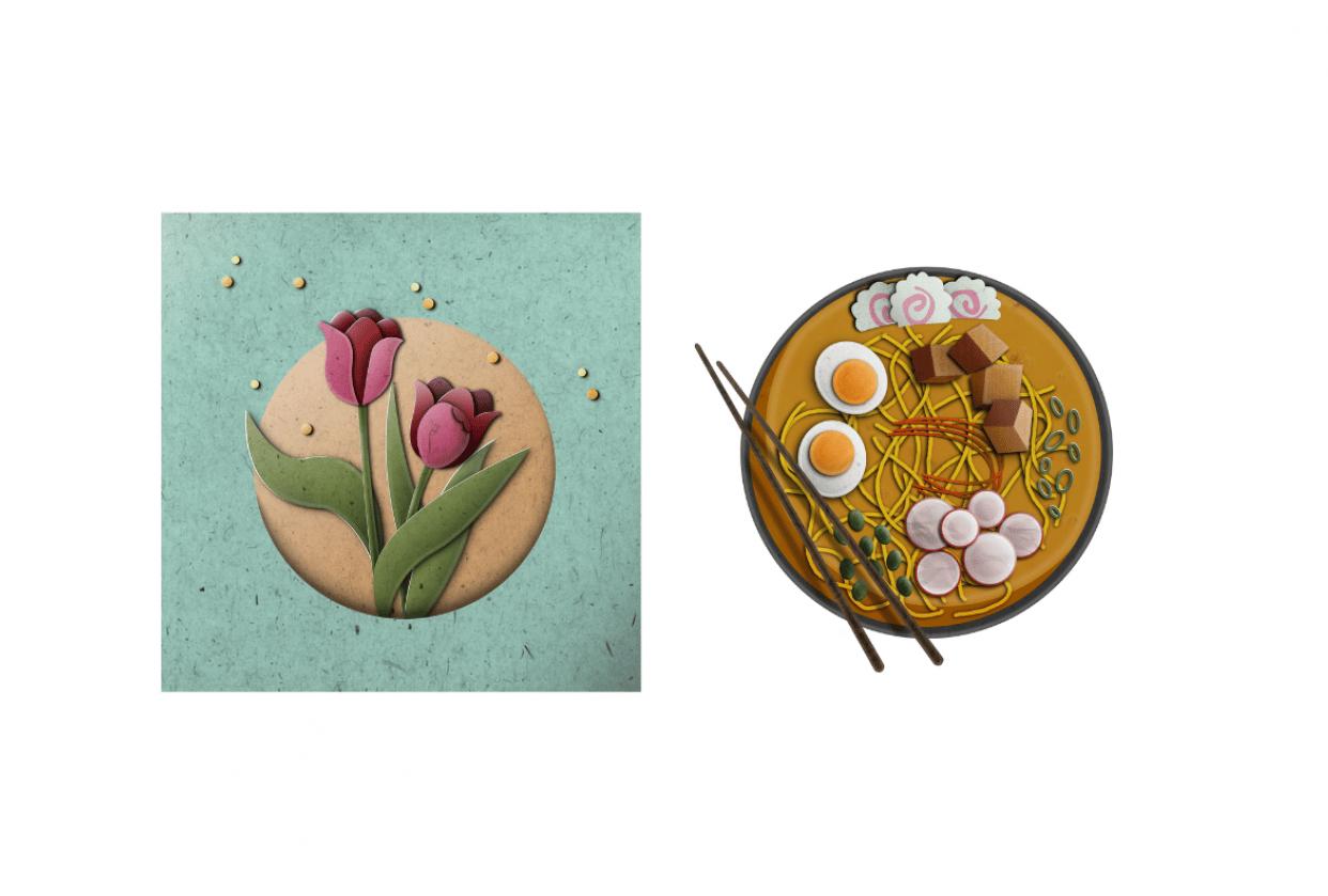Paper Ramen & Tulips - student project