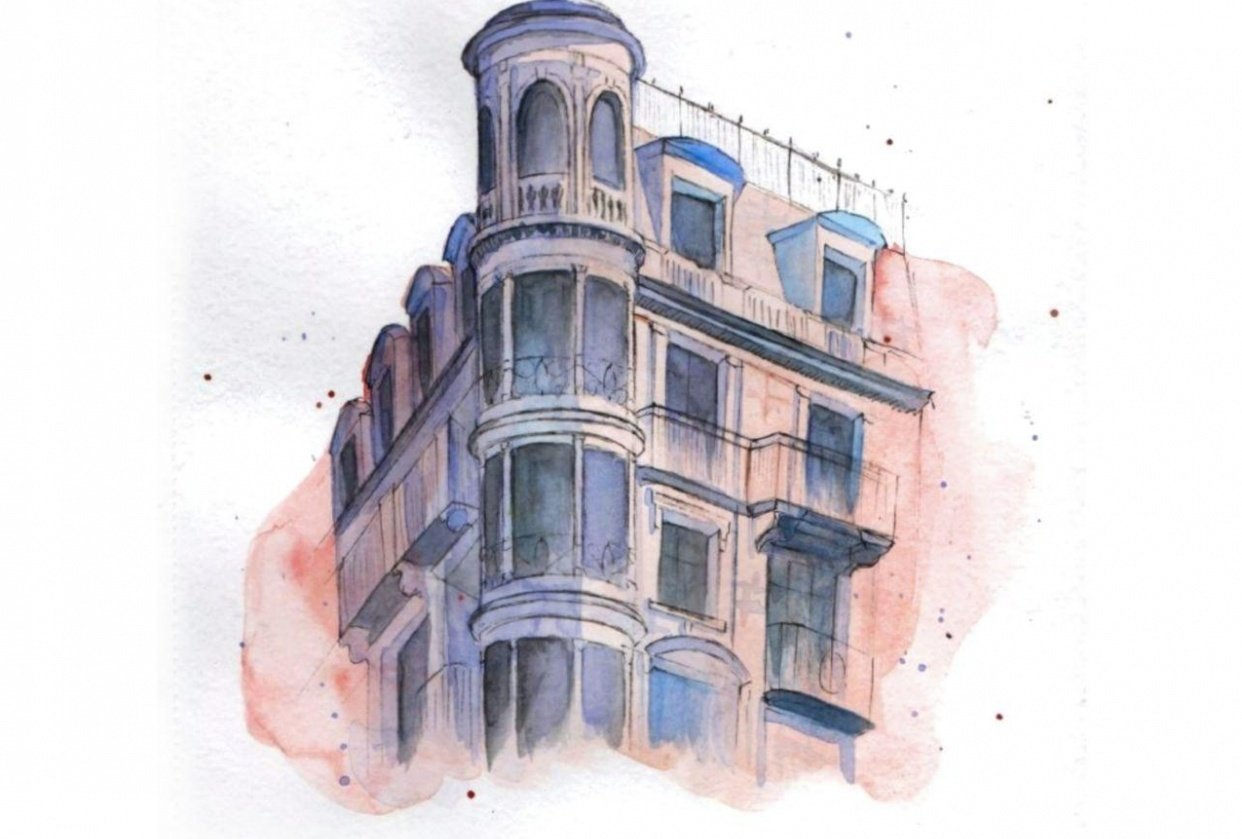 Watercolour building - student project