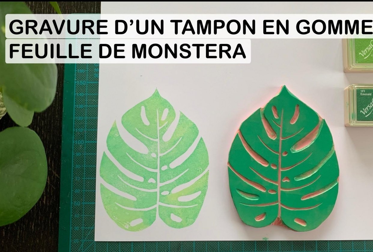 Monstera leaf rubberstamp engraving - student project