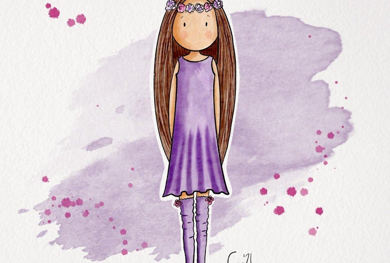 Purple flower child - student project