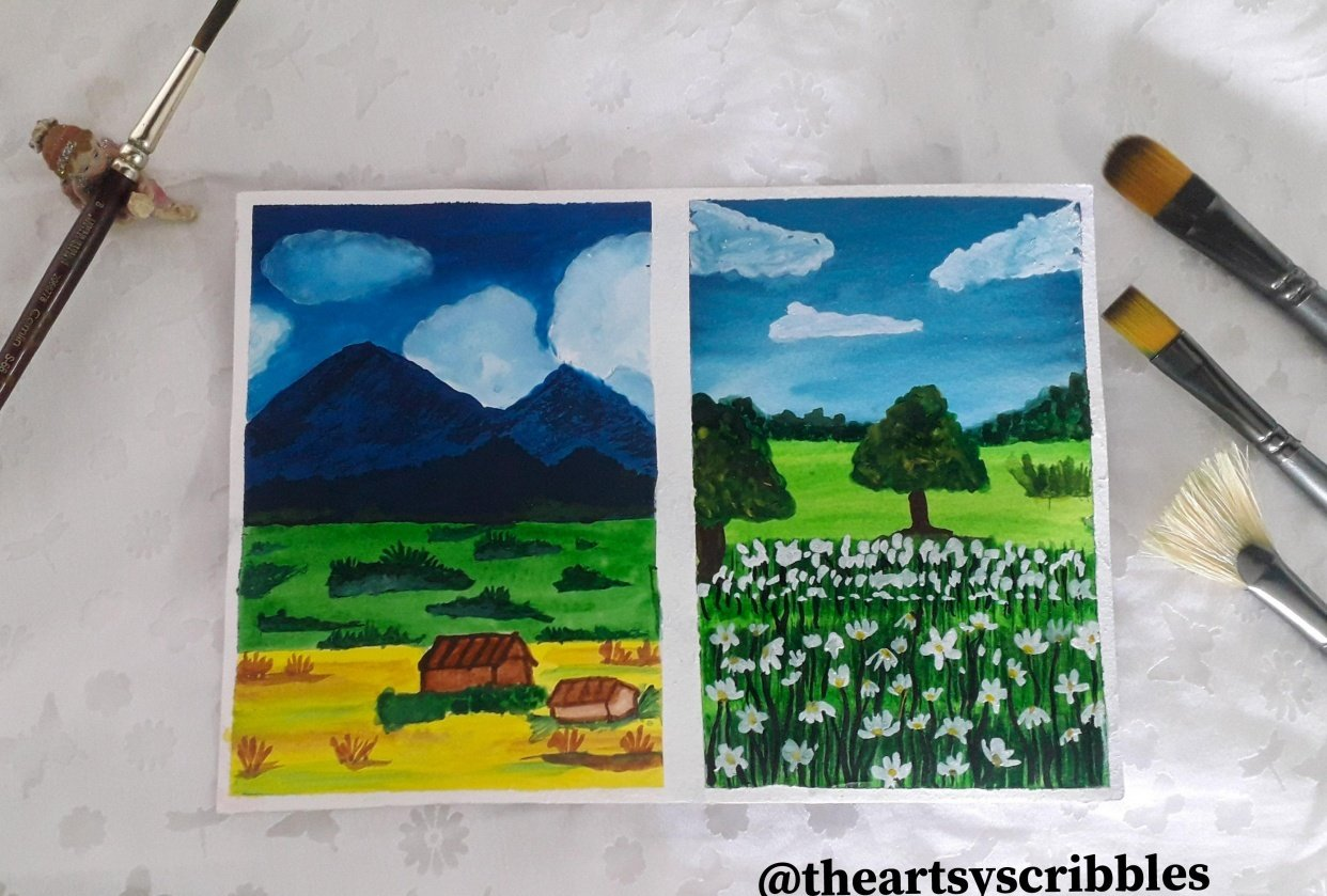 Beginner's Gouache painting - student project