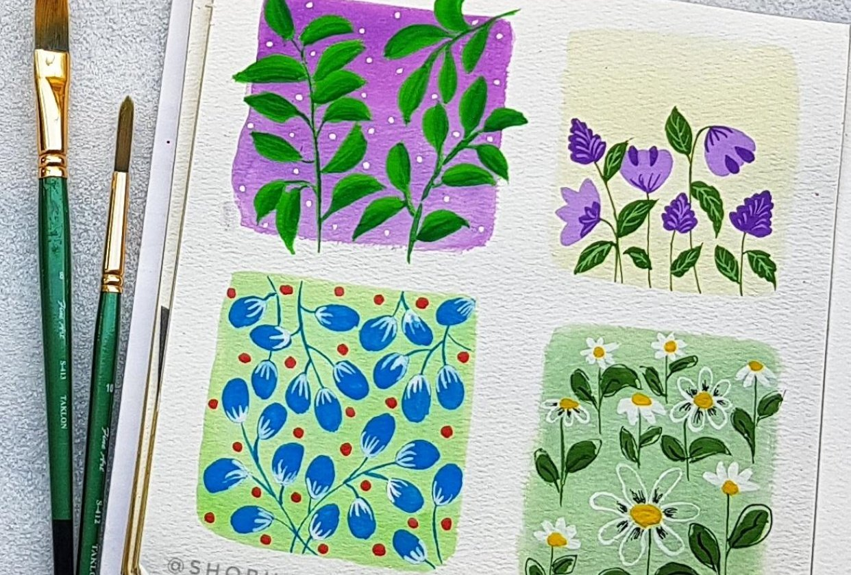 Patterns in gouache - student project