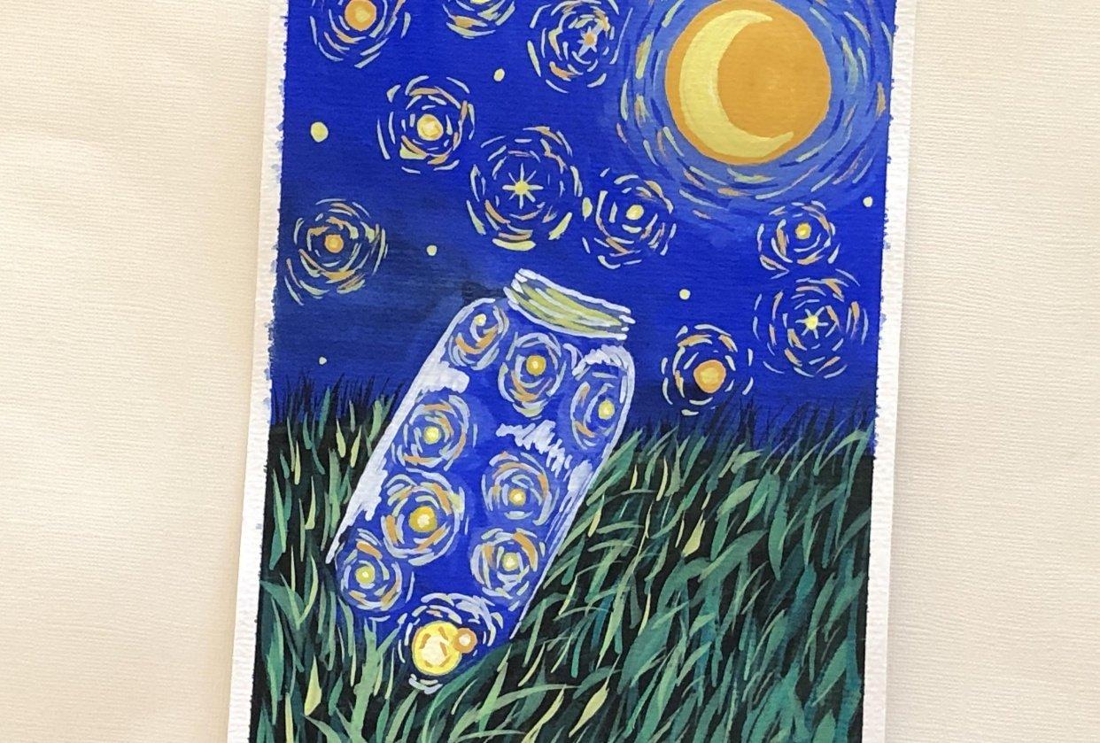 Van Gogh's Starry Night inspired Fireflies Jar - student project