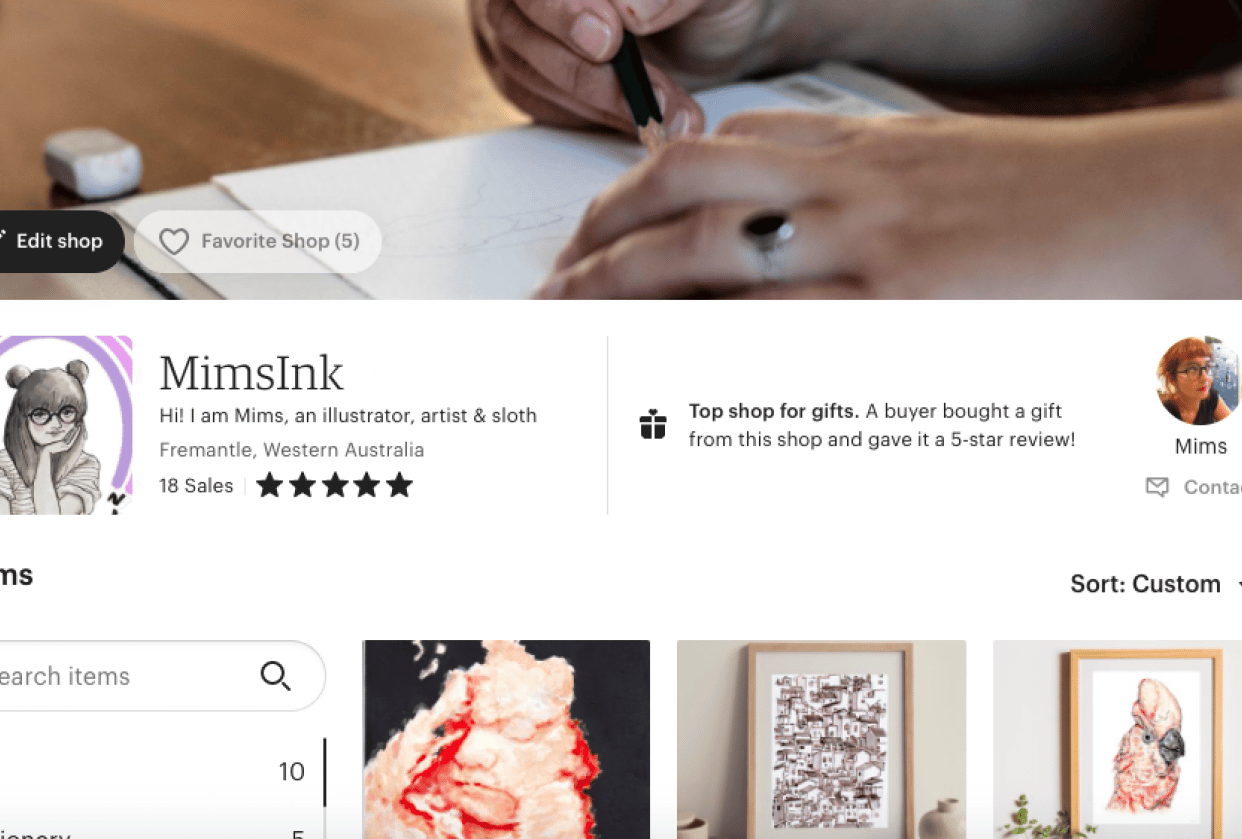 Mims Ink - my Etsy Shop - student project