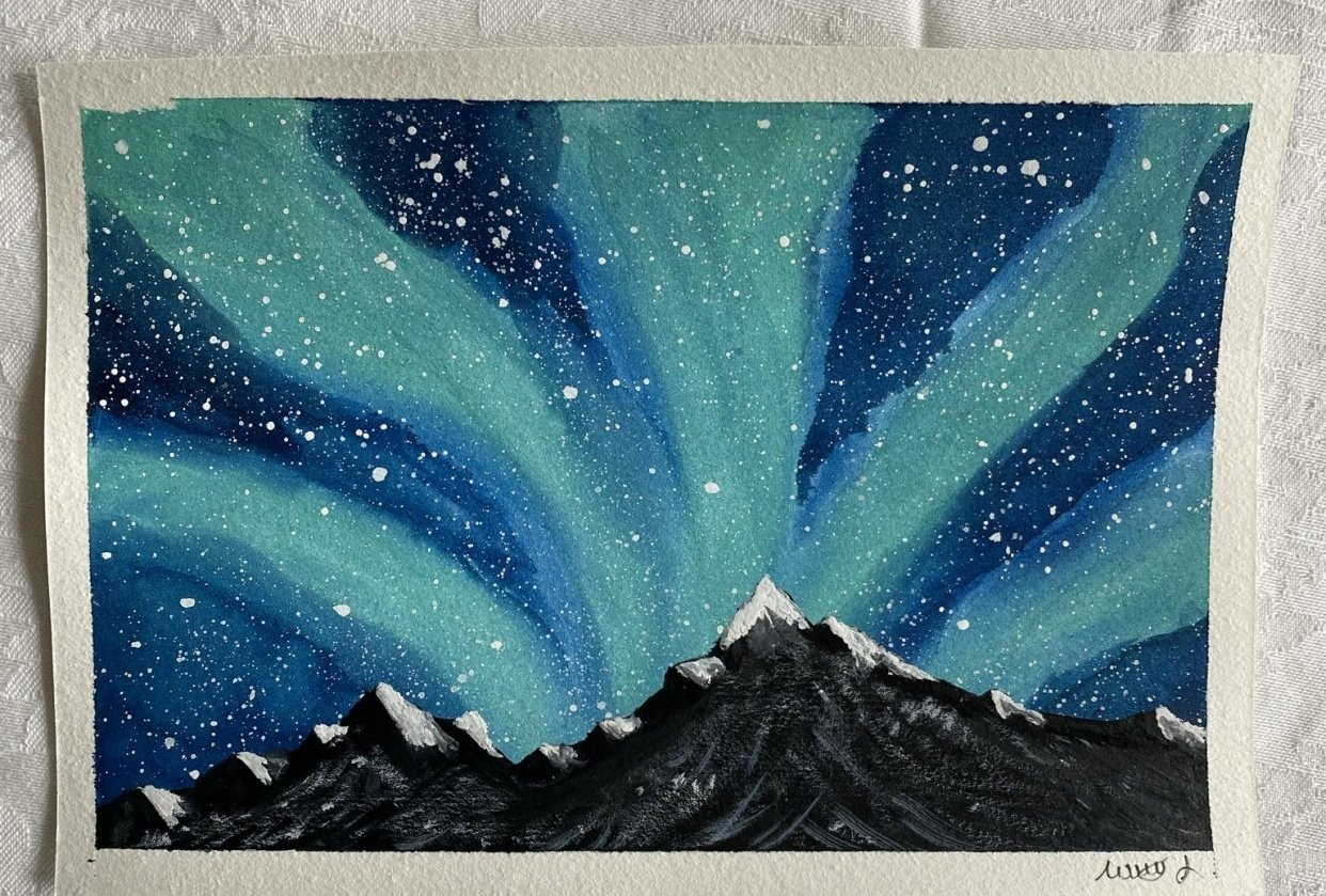 Mountains in the northern lights - student project