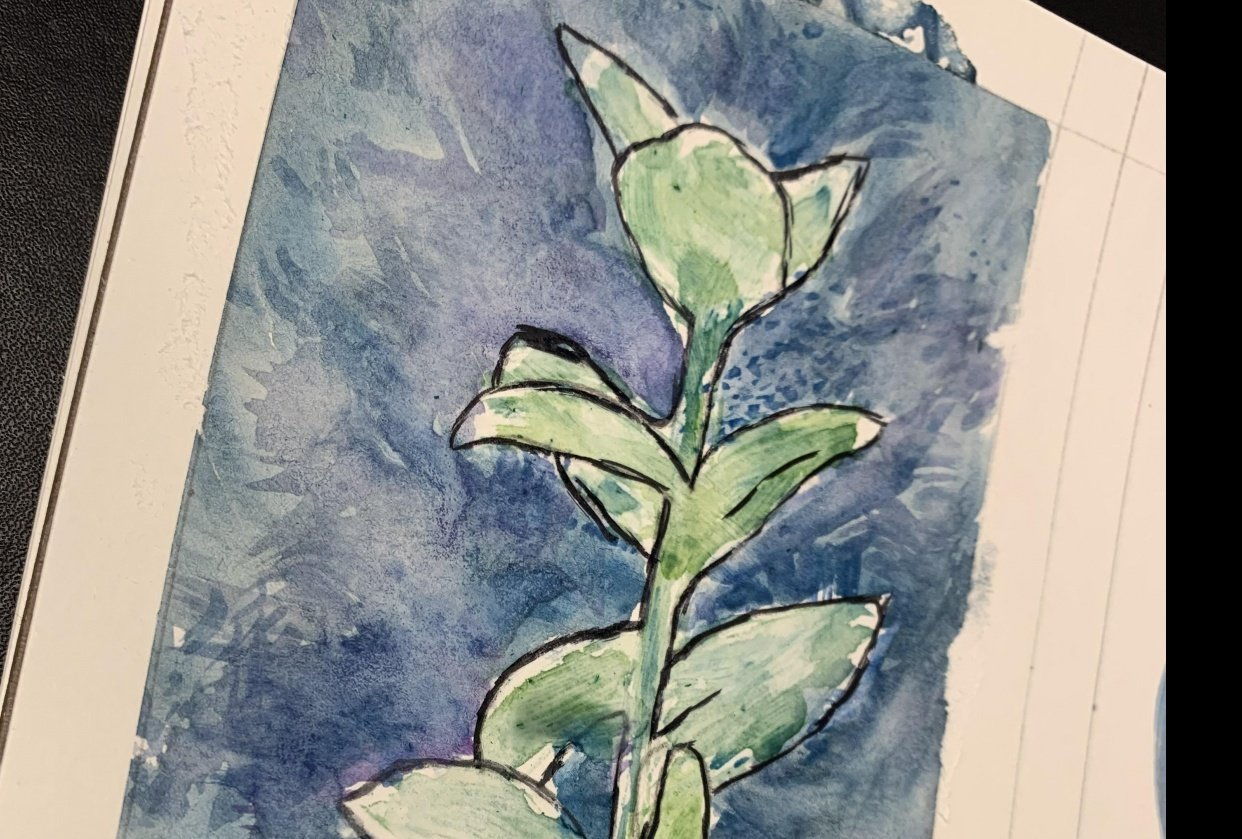 Watercolor Flower with Outline - student project