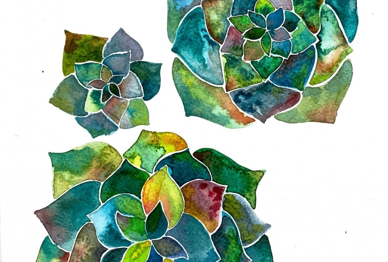 Modern Watercolour Botanicals - student project