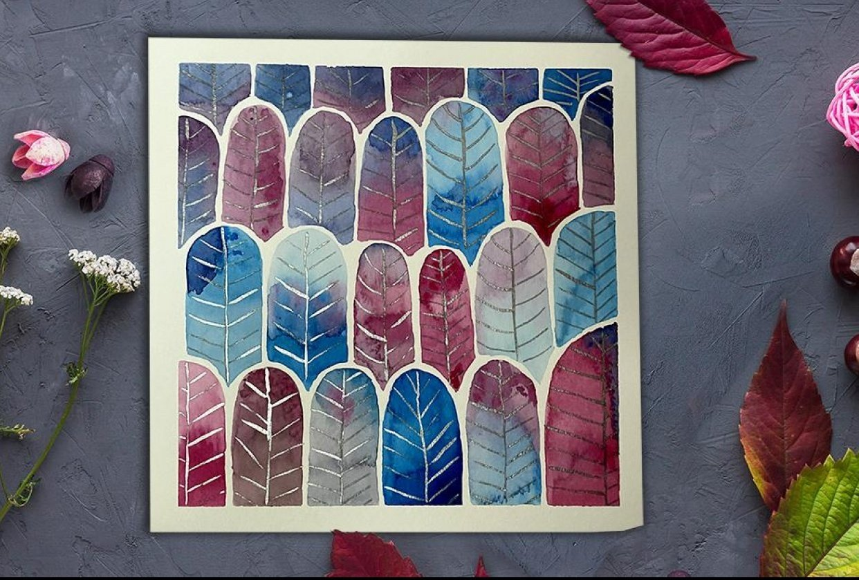 Watercolor Feather Forest pattern - student project