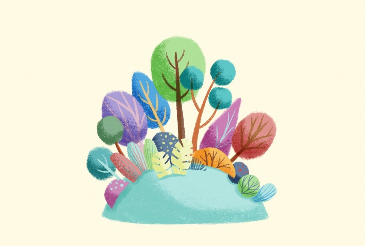 Soft greenery with Procreate - student project