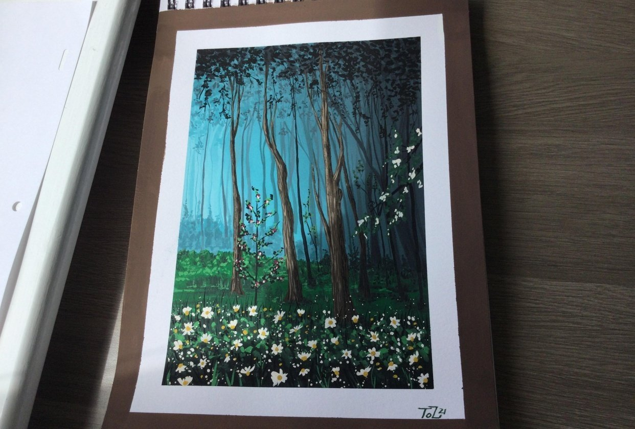 Gouache Forrest with daisies - student project