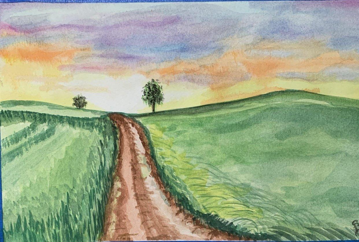 Simple watercolour landscape - student project