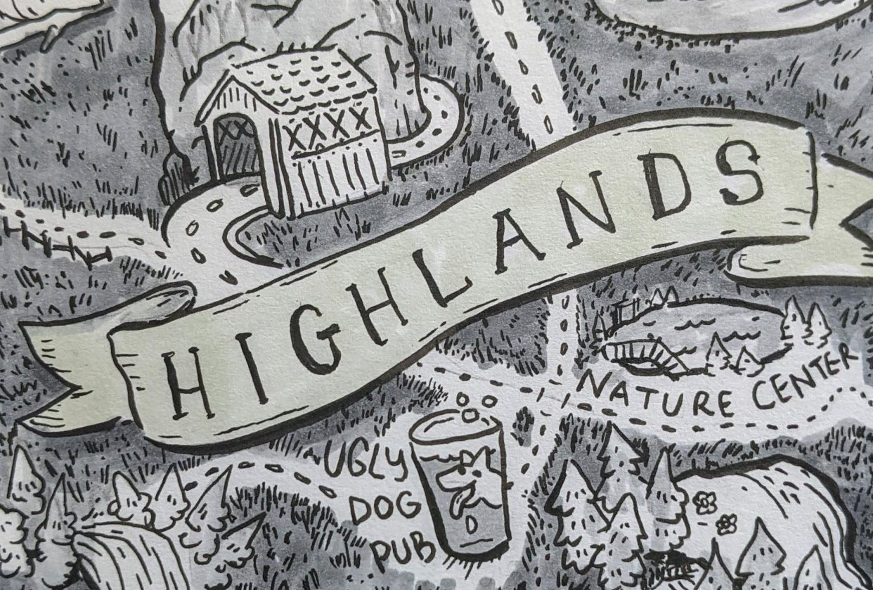 Map of Highlands - student project