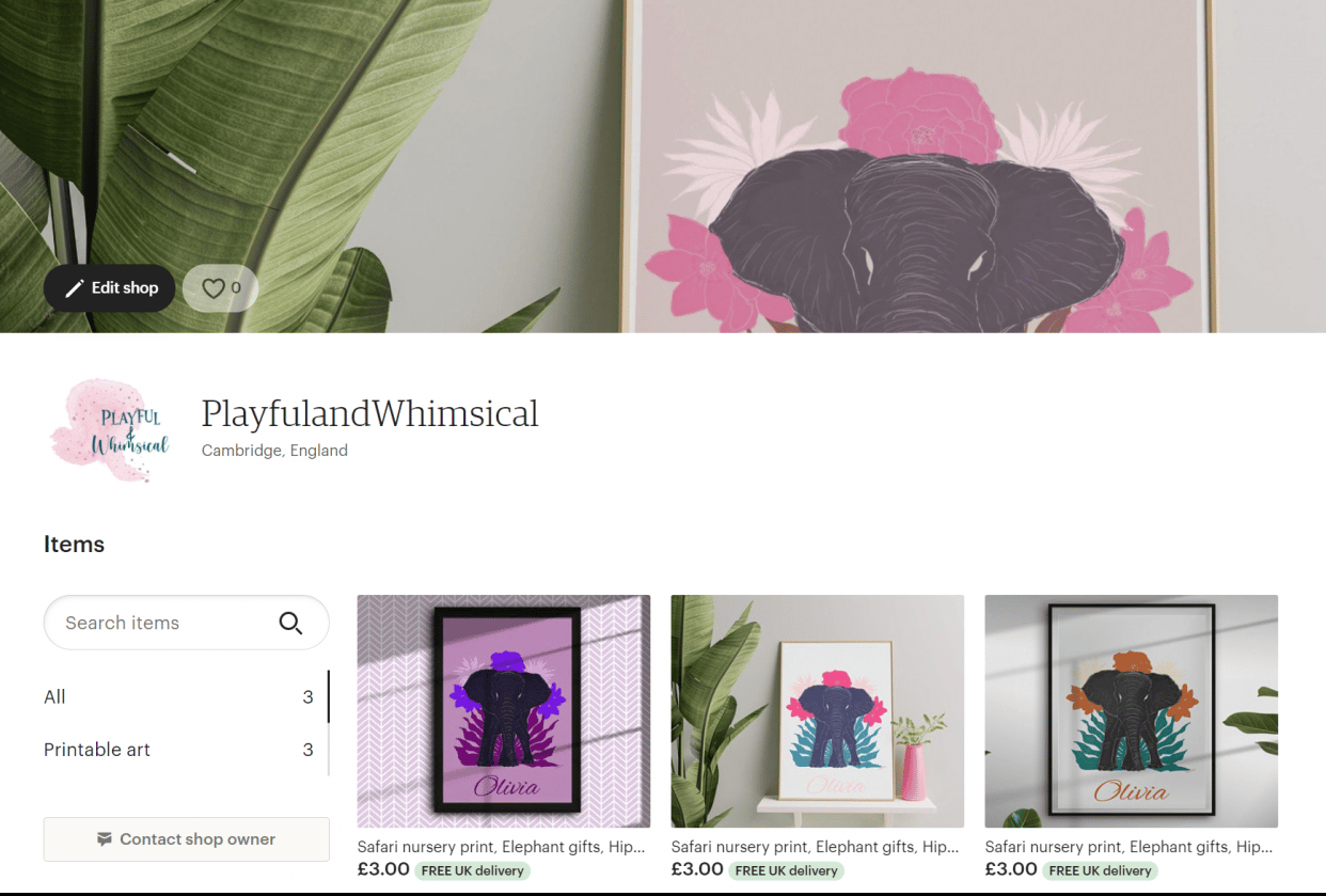 Playful and Whimsical Etsy shop - student project