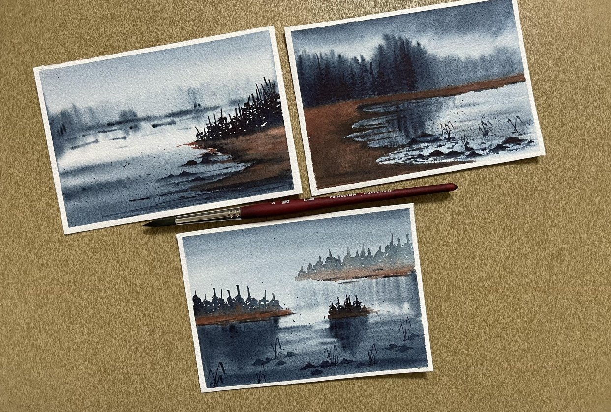 Soft and flows watercolor landscapes by Sukrutha - student project