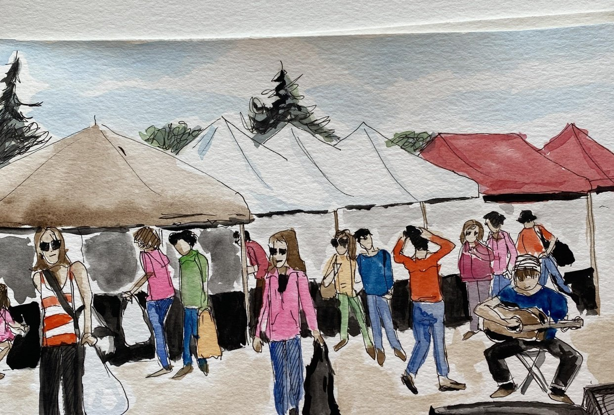 Outdoor Farmer's Market in St. Albert, Canada - student project