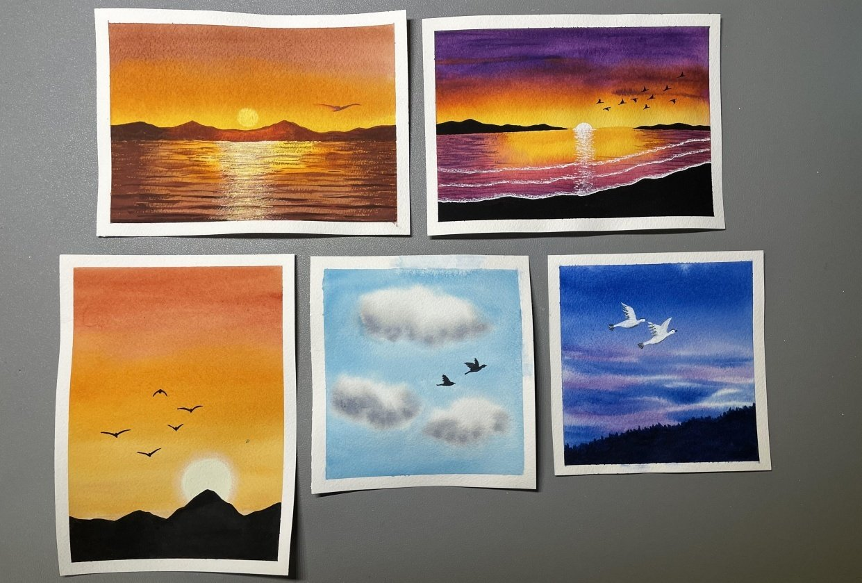 Birds at Sunset - student project