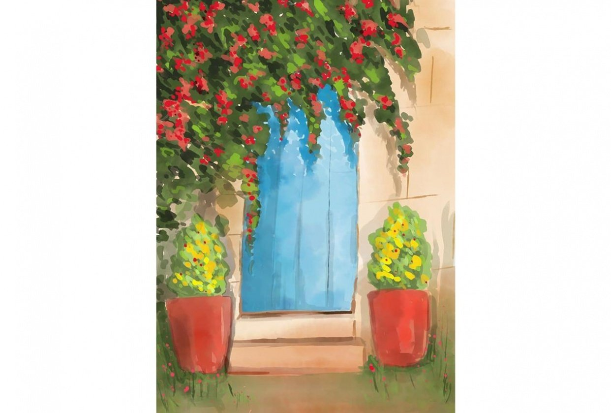 Watercolor door illustration - student project