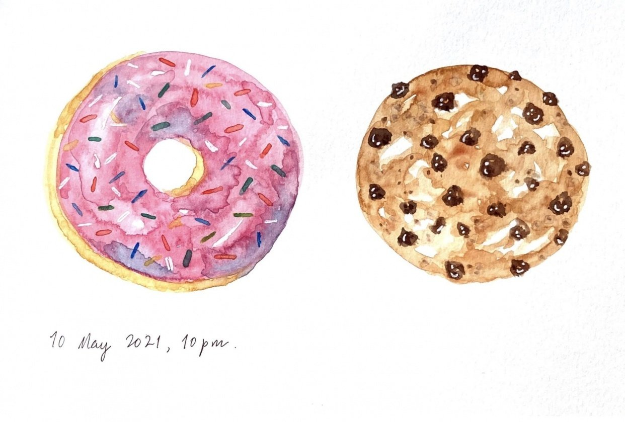 Fun, relaxed food paintings - student project