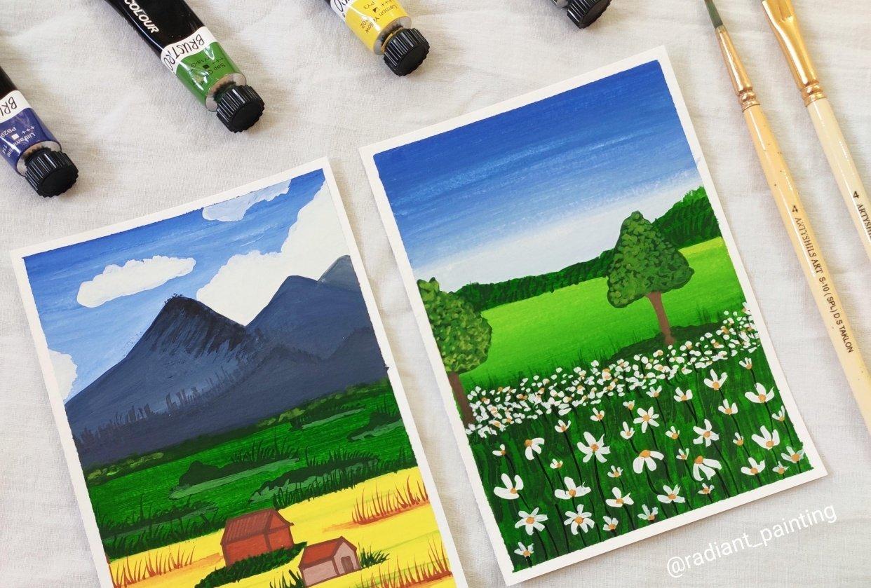 Beginners Gouache Landscape - student project