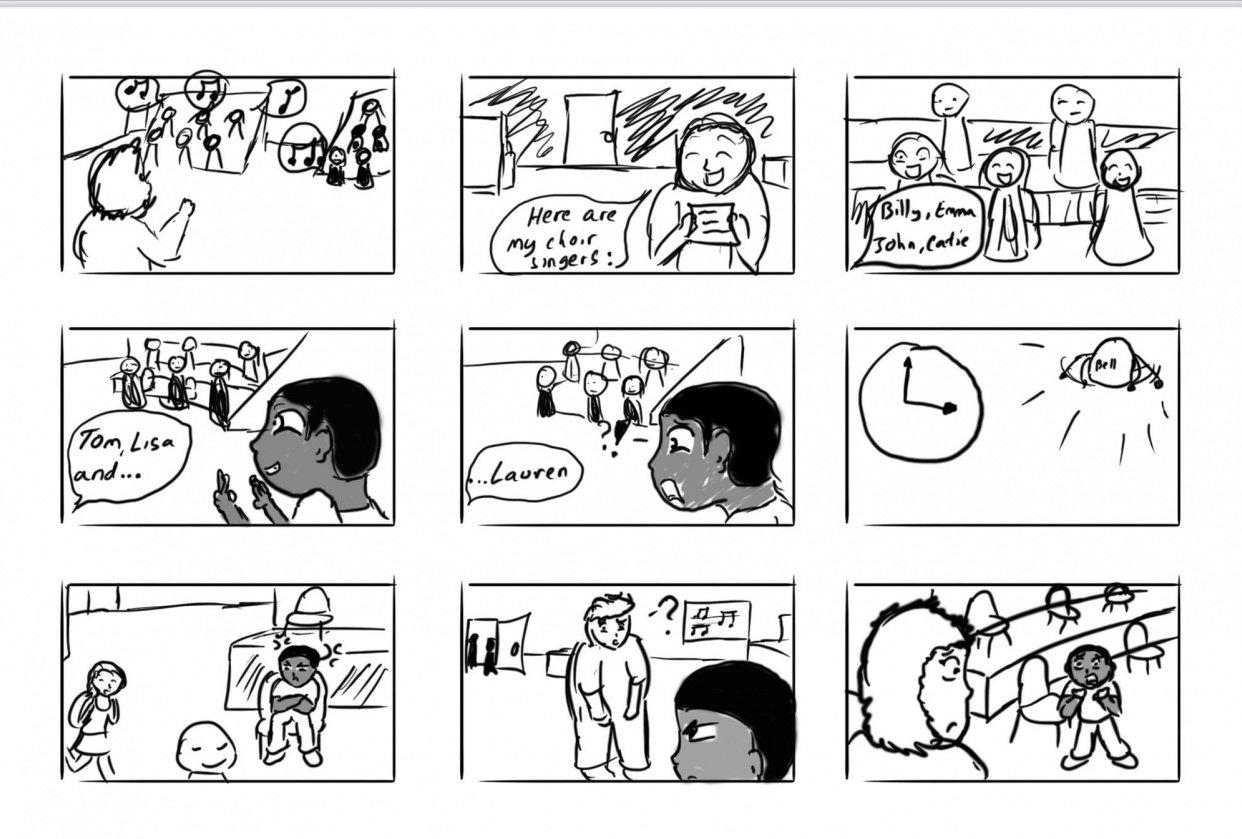 Solo Spotlight Storyboard - student project
