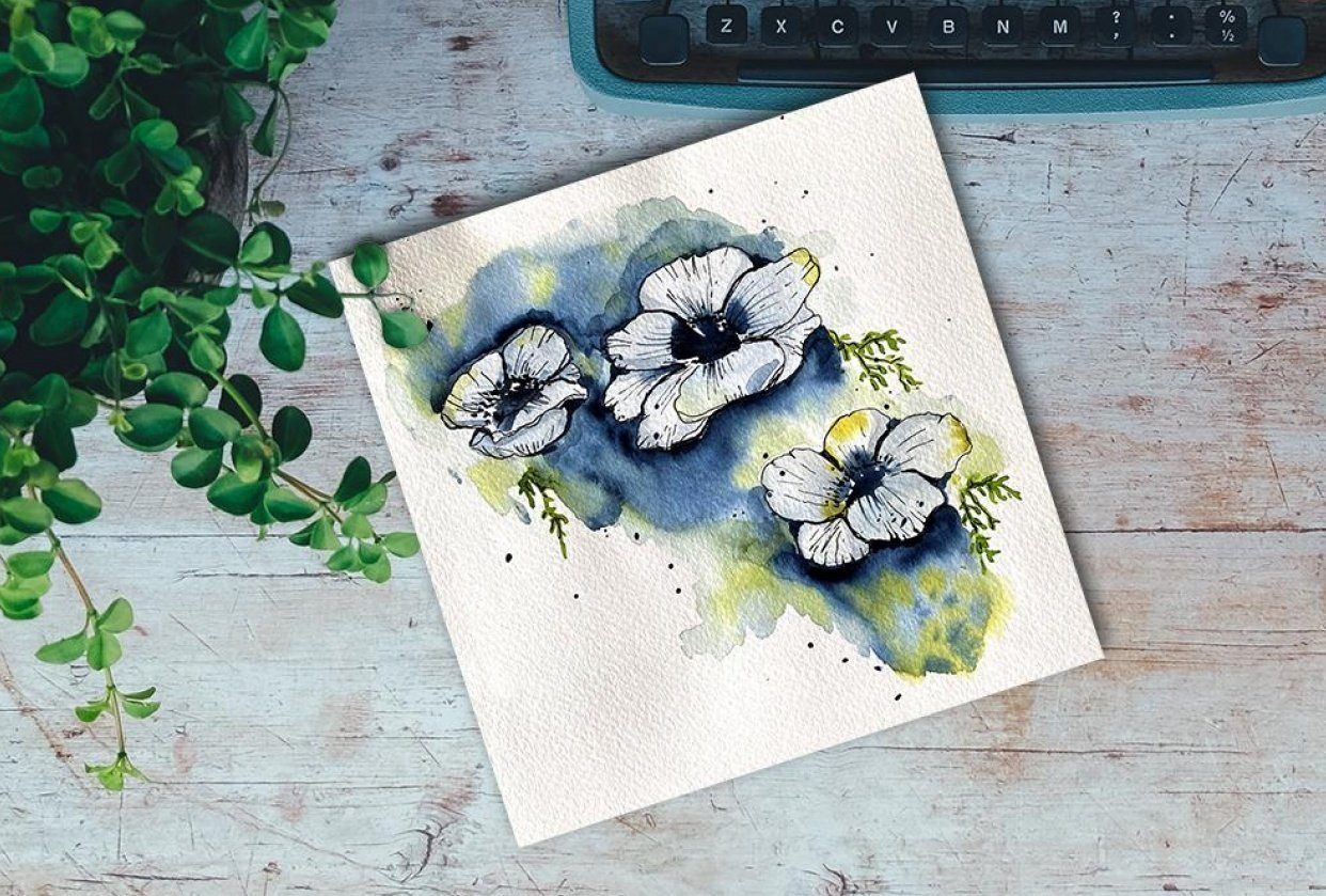 Modern Anemones in Watercolor and Ink - student project