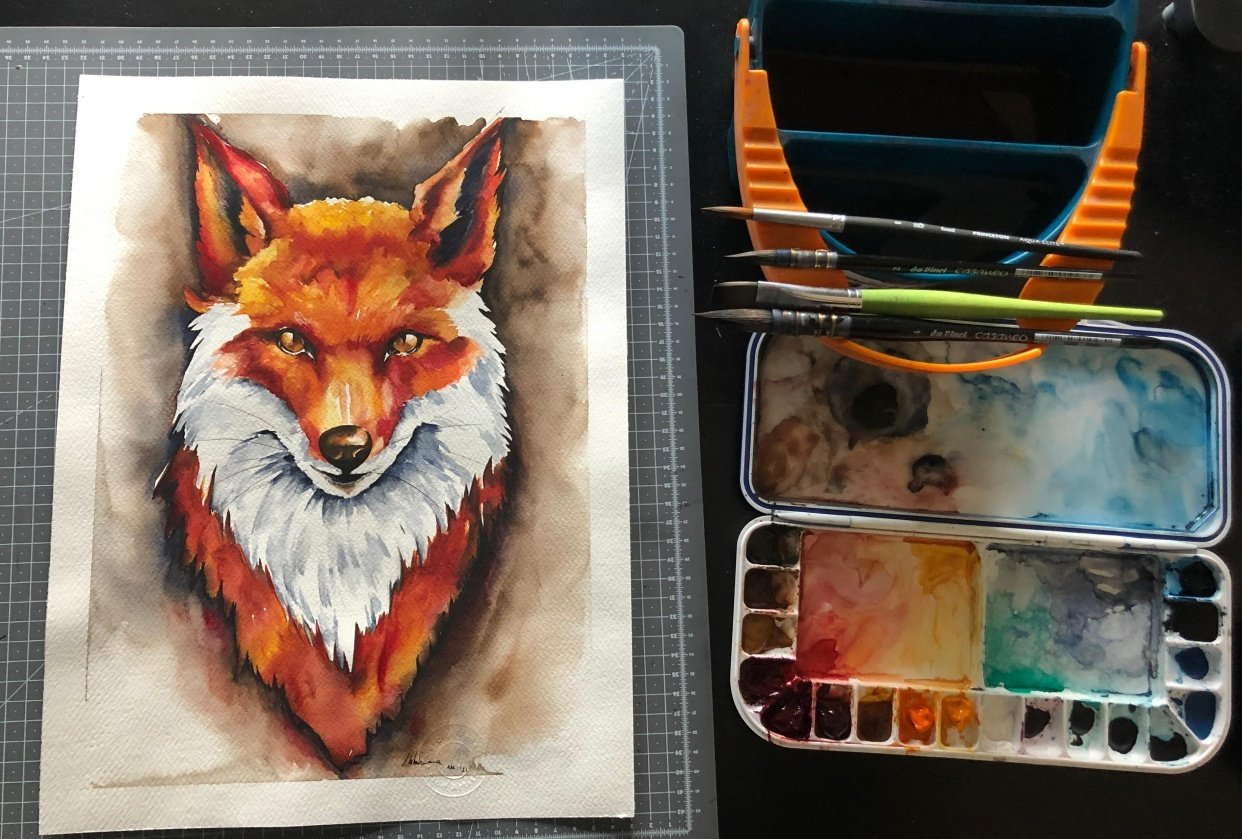 Watercolor Fox Painting - student project