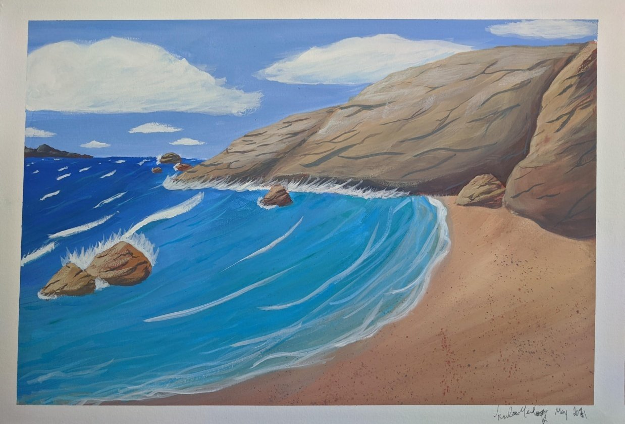 Rocky Beach - Gouache - student project