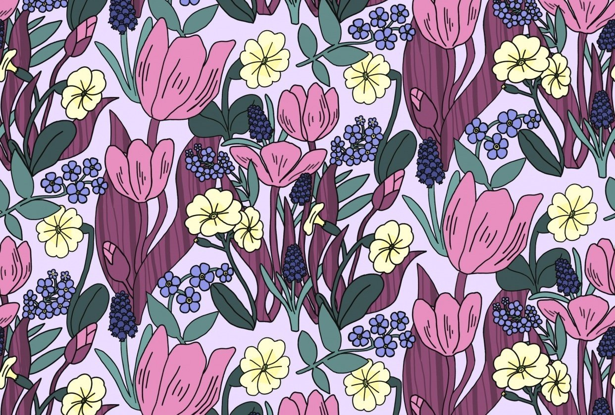 Create a Dense, Floral, Half Drop Pattern in Procreate - student project