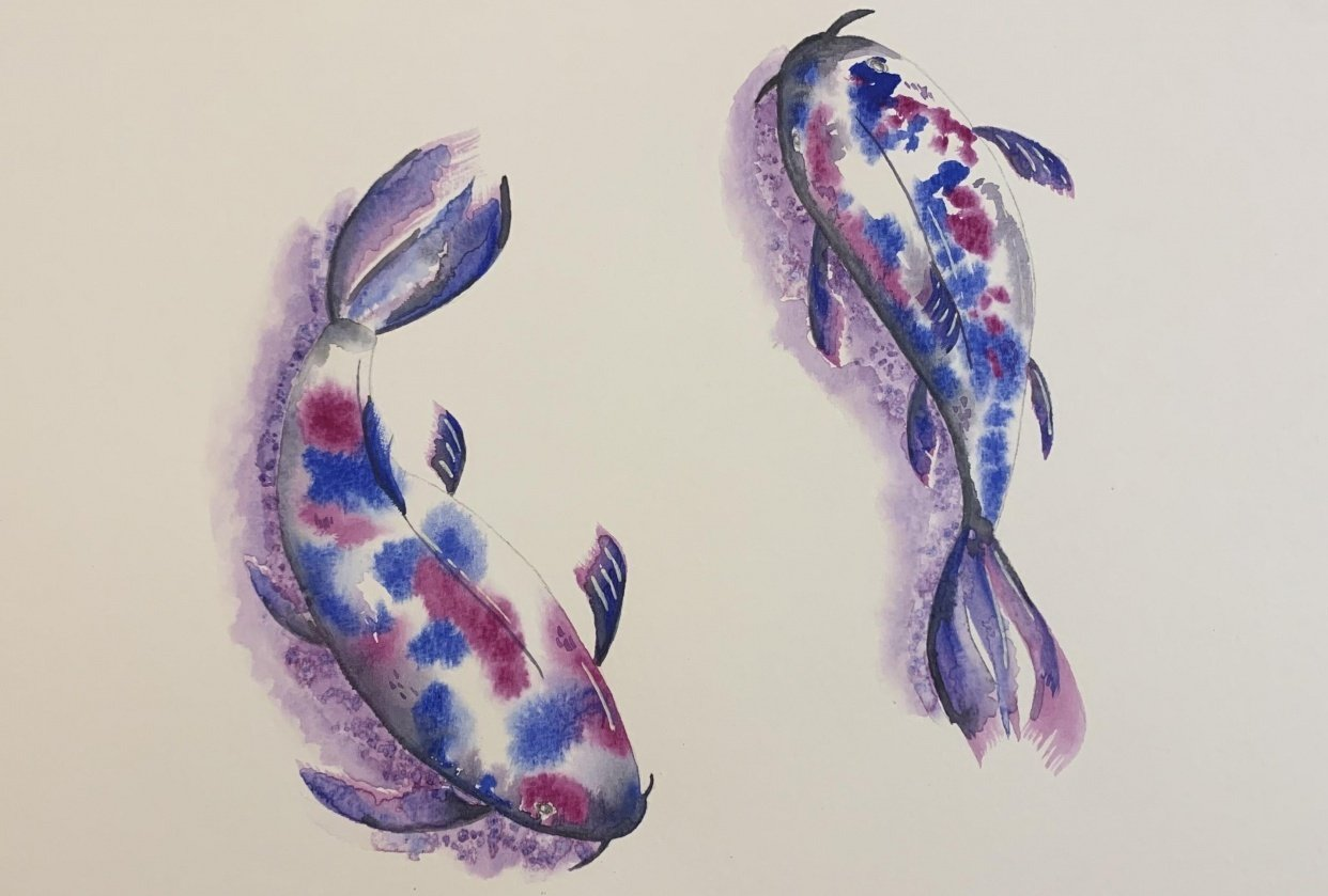 koi fish with regular watercolor - student project