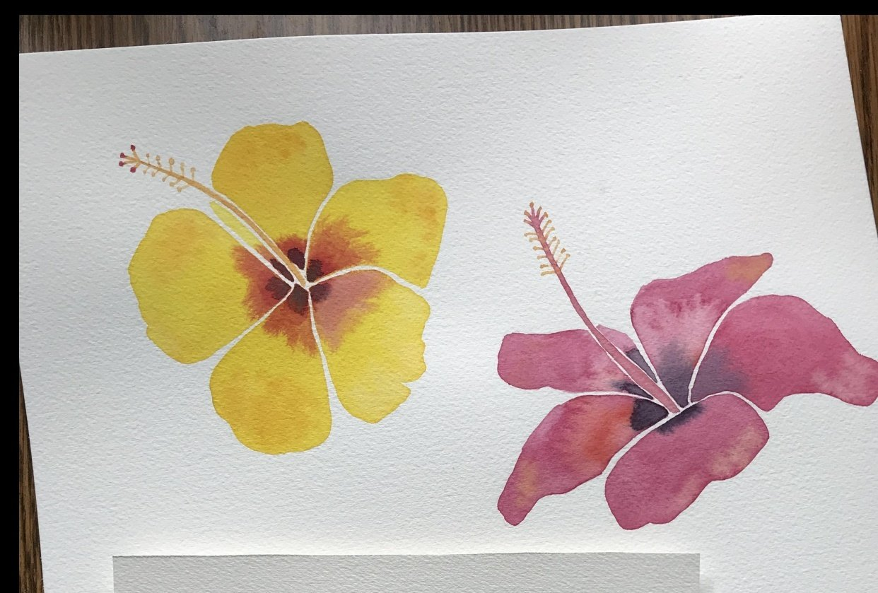 Modern Botanical Watercolor Paintings - student project