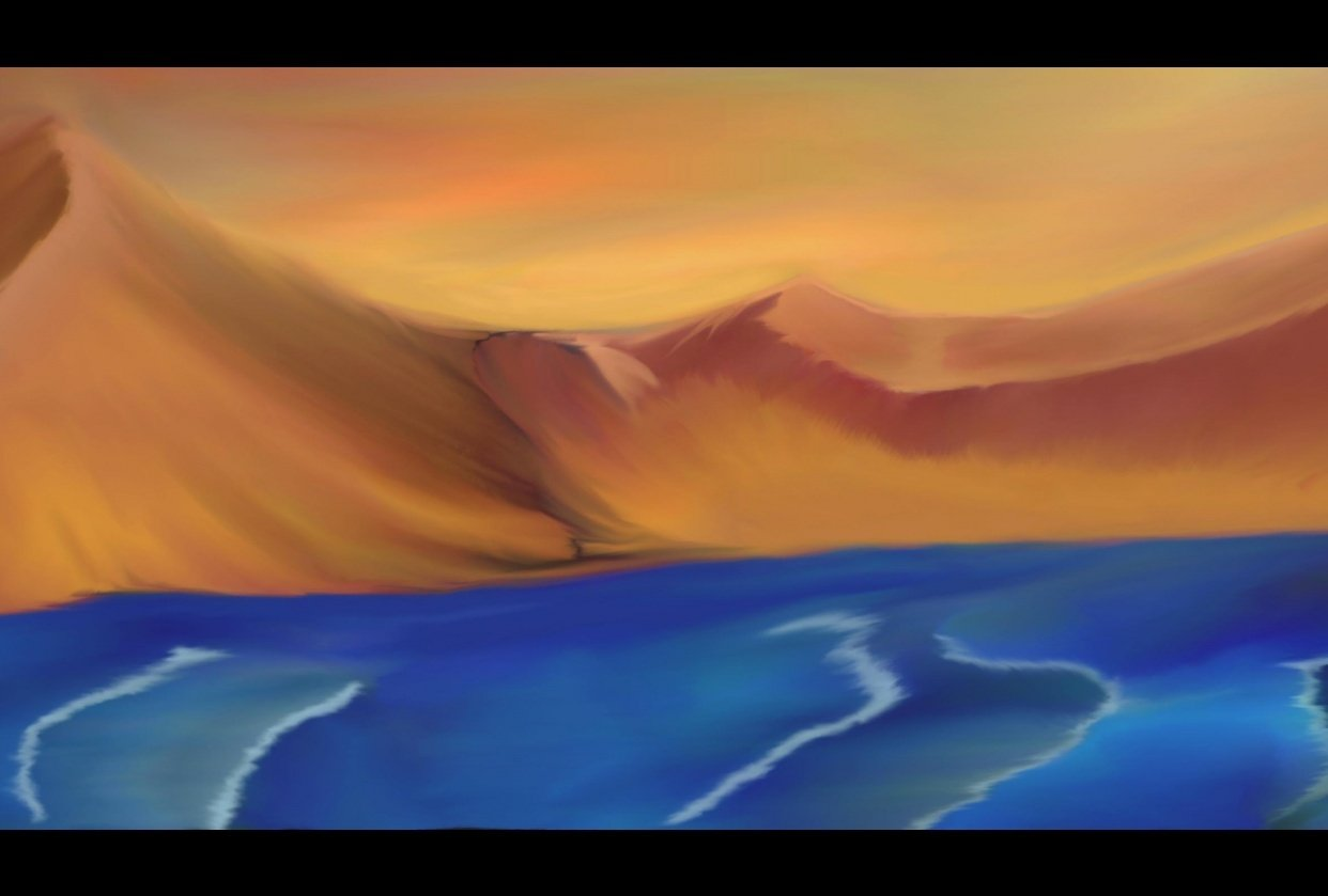 Desert with ocean - student project